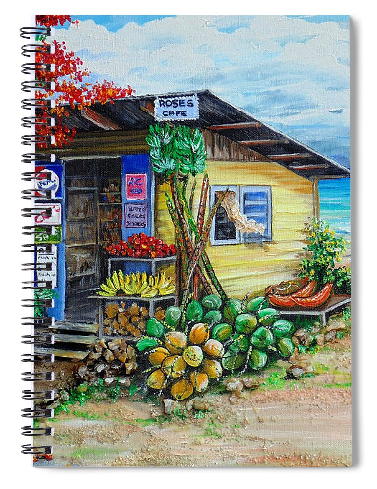 Beach Cafe Spiral Notebook featuring the painting Rosies Beach Cafe by Karin Dawn Kelshall- Best