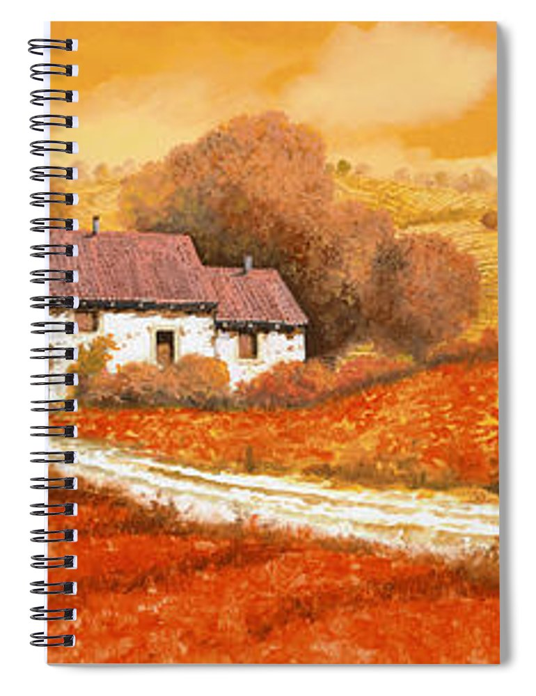 Tuscany Spiral Notebook featuring the painting I papaveri rossi by Guido Borelli