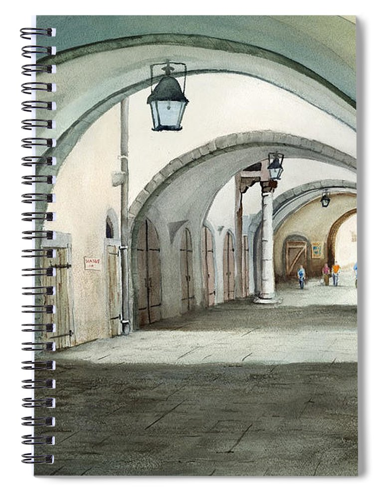 Germany Spiral Notebook featuring the painting Rothenburg Backstreet by Sam Sidders