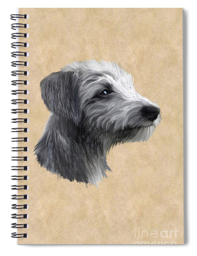 Rough Coated Lurcher Spiral Notebook featuring the painting Rough Coated Lurcher by John Edwards