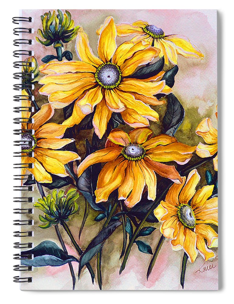 Flower Painting Sun Flower Painting Flower Botanical Painting  Original Watercolor Painting Rudebeckia Painting Floral Painting Yellow Painting Greeting Card Painting Spiral Notebook featuring the painting RUDBECKIA Prairie Sun by Karin Dawn Kelshall- Best