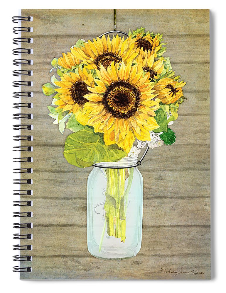 Watercolor Spiral Notebook featuring the painting Rustic Country Sunflowers In Mason Jar by Audrey Jeanne Roberts