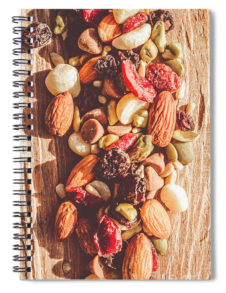 Rustic Spiral Notebook featuring the photograph Rustic Dried Fruit And Nut Mix by Jorgo Photography - Wall Art Gallery