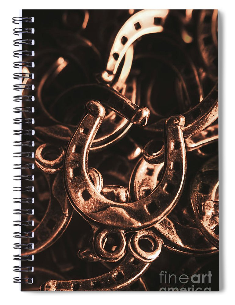 Horse Spiral Notebook featuring the photograph Rustic Horse Shoes by Jorgo Photography - Wall Art Gallery