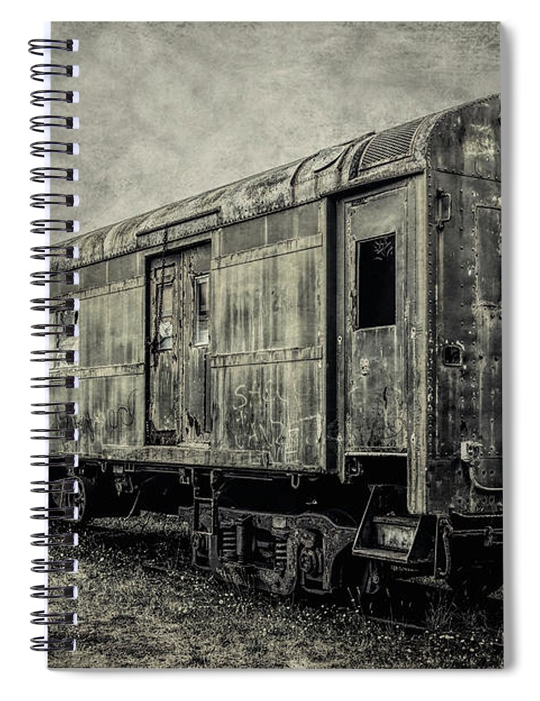 Railroad Spiral Notebook featuring the photograph Rusting Passenger Car Ft Bragg by Garry Gay