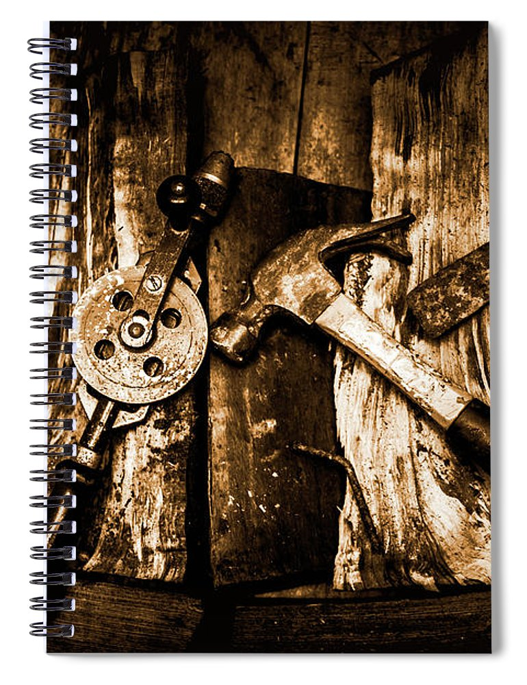 Mining Spiral Notebook featuring the photograph Rusty Old Hand Tools On Rustic Wooden Surface by Jorgo Photography - Wall Art Gallery