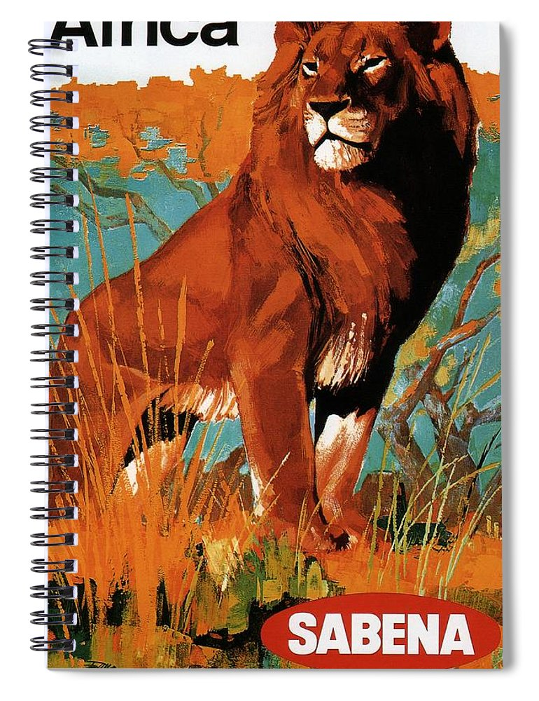 Sabena Spiral Notebook featuring the mixed media Sabena - Belgian World Airlines - Belgium Airport - Lion - Retro Travel Poster - Vintage Poster by Studio Grafiikka