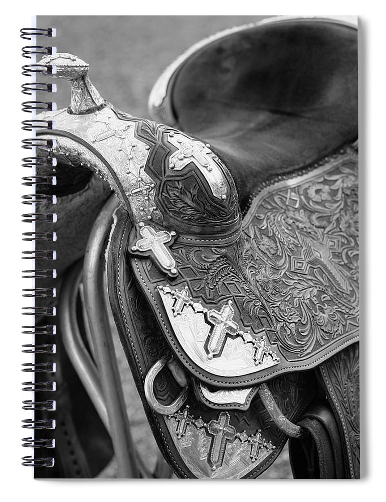 Americana Spiral Notebook featuring the photograph Saddle by Marilyn Hunt