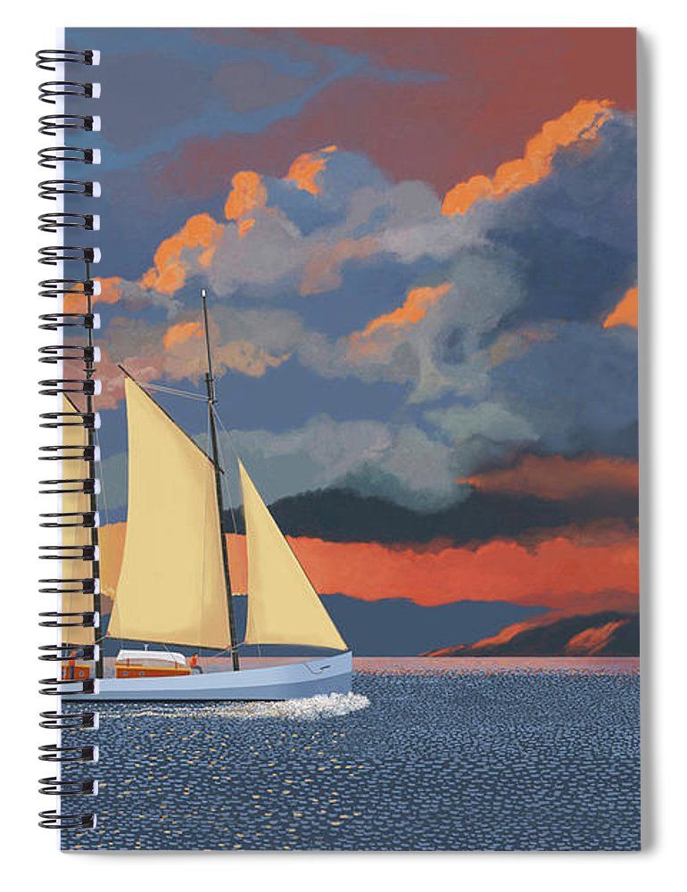 Schooner Yawl Sloop Ketch Sailing Sailor Ship Boat Freighter Sailing Ocean Sea Lake Stream River Cargo Storm Stormy Clouds Thunder Lightening Spiral Notebook featuring the digital art Safe haven by Gary Giacomelli