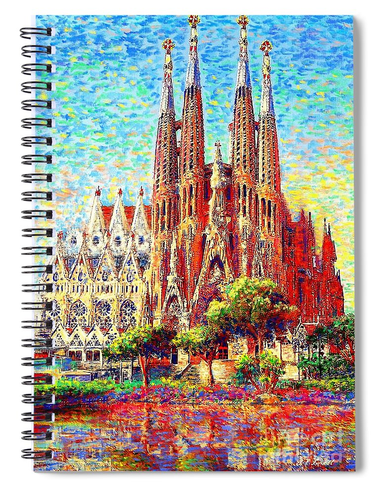 Spain Spiral Notebook featuring the painting Sagrada Familia by Jane Small