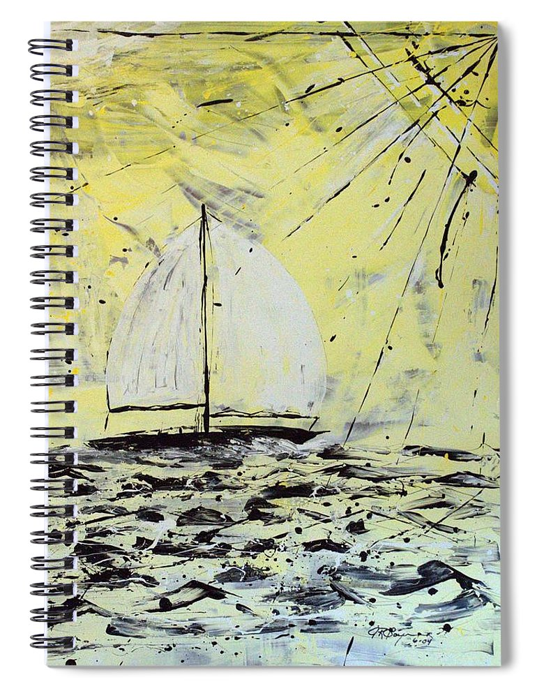 Abstract Spiral Notebook featuring the painting Sail And Sunrays by J R Seymour