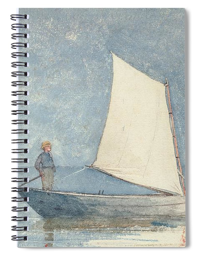 Boat Spiral Notebook featuring the painting Sailing A Dory by Winslow Homer