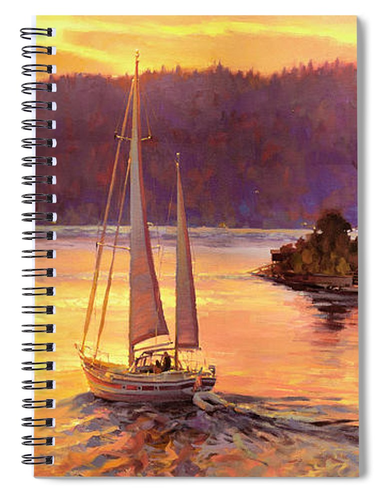 Sailing Spiral Notebook featuring the painting Sailing On The Sound by Steve Henderson