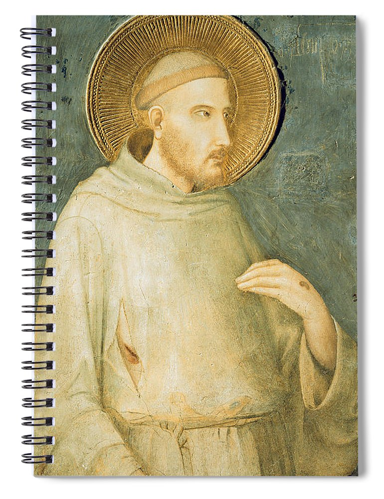 Francis Spiral Notebook featuring the painting Saint Francis by Simone Martini