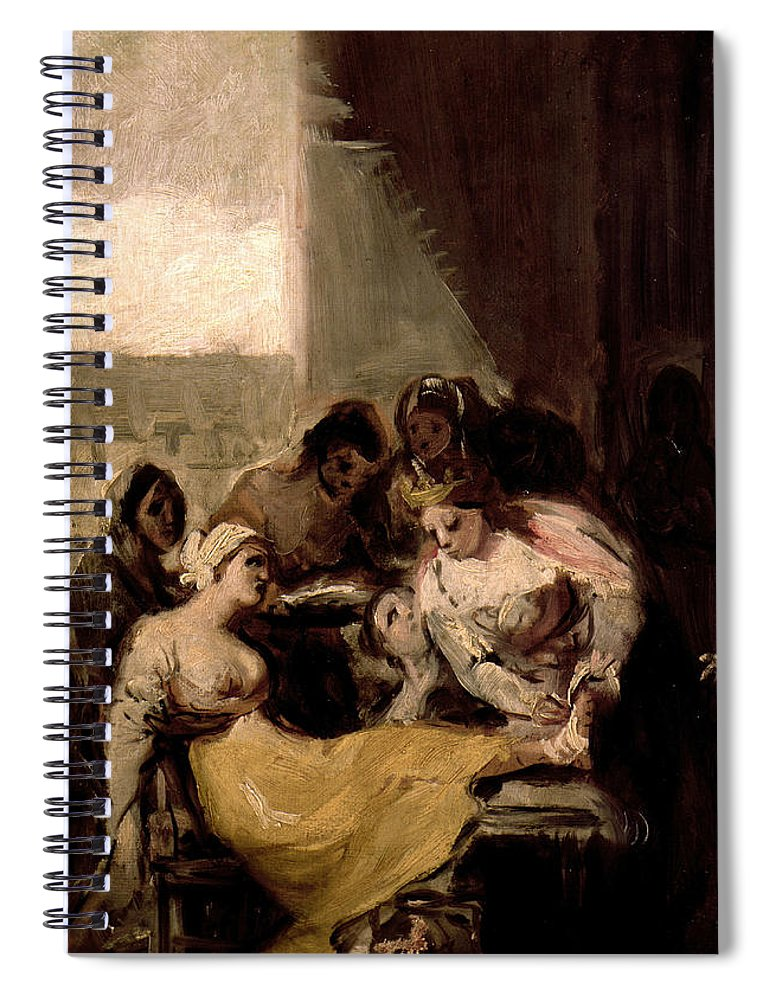 Francisco Goya Spiral Notebook featuring the painting Saint Isabel Of Portugal Healing The Wounds Of A Sick Woman by Francisco Goya