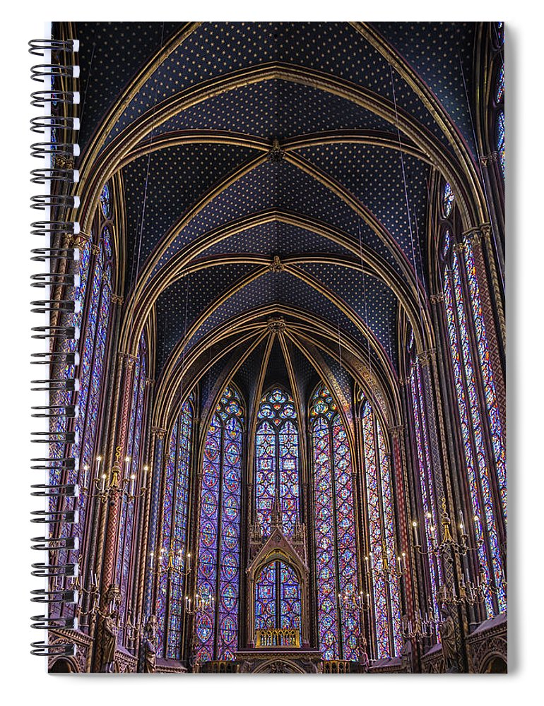 Joan Carroll Spiral Notebook featuring the photograph Sainte Chapelle Stained Glass Paris by Joan Carroll