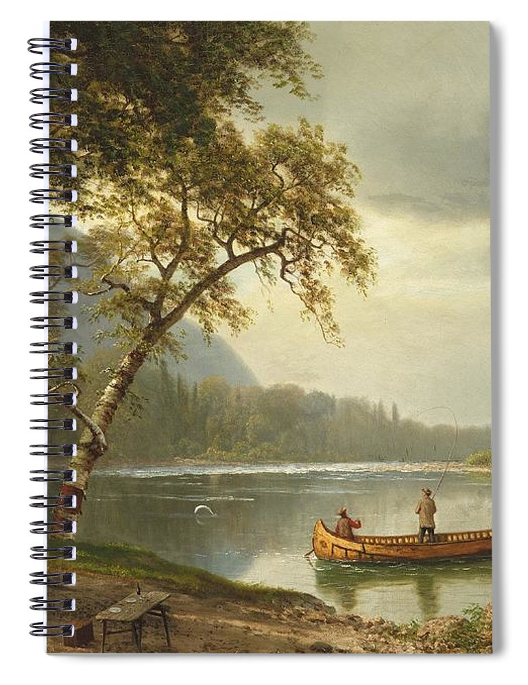 Landscape; Rural; Countryside; Canadian; Fishermen; Boat; Leisure; Calm; Peaceful; Kayak; Camp; Campfire; Fire; Kettle; Scenic; Riverbank Spiral Notebook featuring the painting Salmon Fishing On The Caspapediac River by Albert Bierstadt