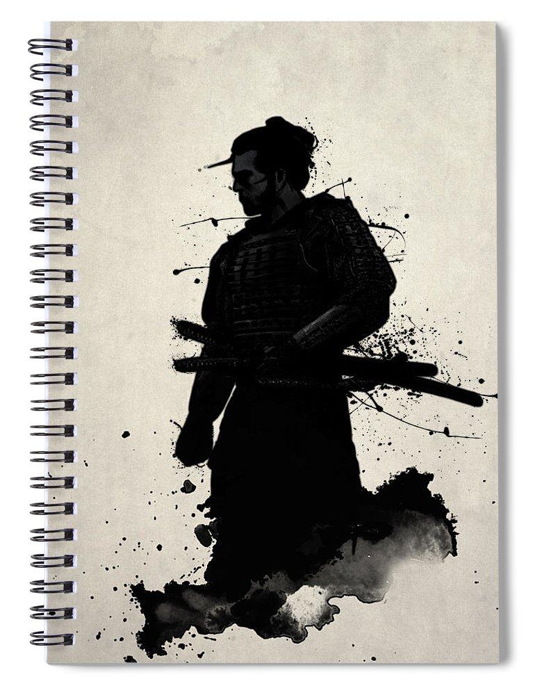 Samurai Spiral Notebook featuring the painting Samurai by Nicklas Gustafsson