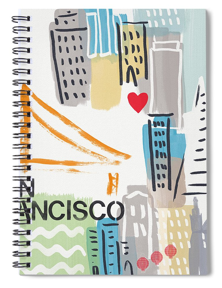 San Francisco Spiral Notebook featuring the painting San Francisco Cityscape- Art By Linda Woods by Linda Woods