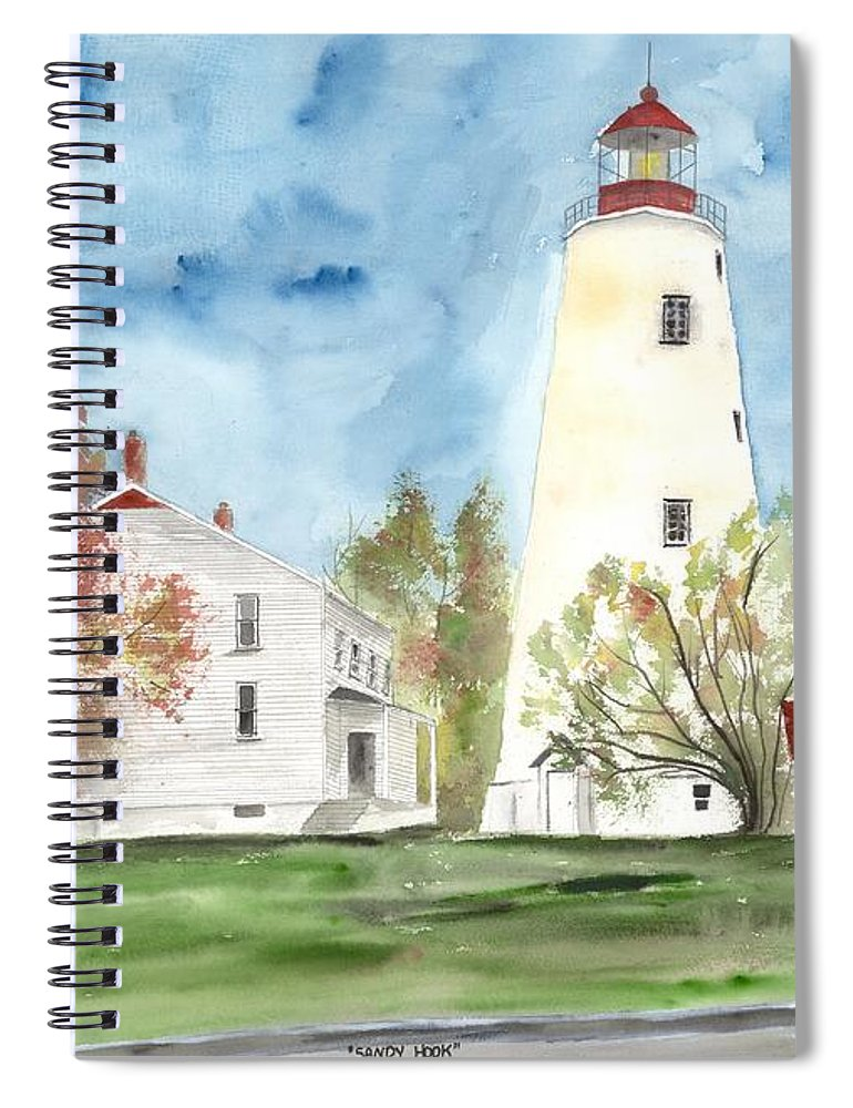 Watercolor Spiral Notebook featuring the painting Sandy Hook Lighthouse by Derek Mccrea