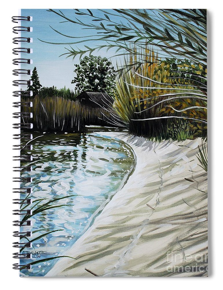 Landscape Spiral Notebook featuring the painting Sandy Reeds by Elizabeth Robinette Tyndall