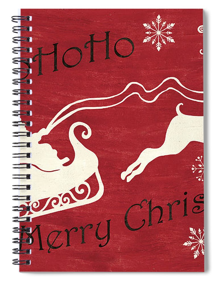 Santa Spiral Notebook featuring the painting Santa and Reindeer Sleigh by Debbie DeWitt