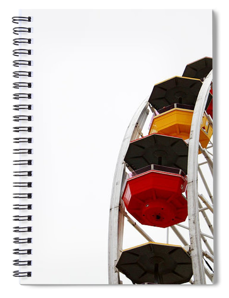 Ferris Wheel Spiral Notebook featuring the photograph Santa Monica Pier Ferris Wheel- By Linda Woods by Linda Woods