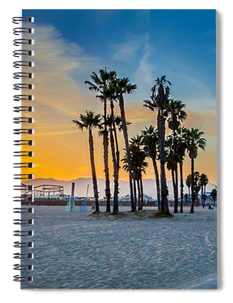 Los Angeles Spiral Notebook featuring the photograph Santa Monica Sunset by Az Jackson