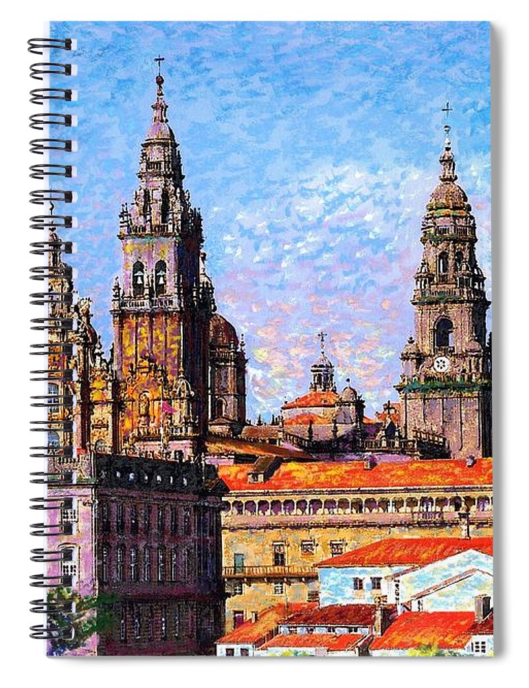 Spain Spiral Notebook featuring the painting Santiago De Compostela, Cathedral, Spain by Jane Small