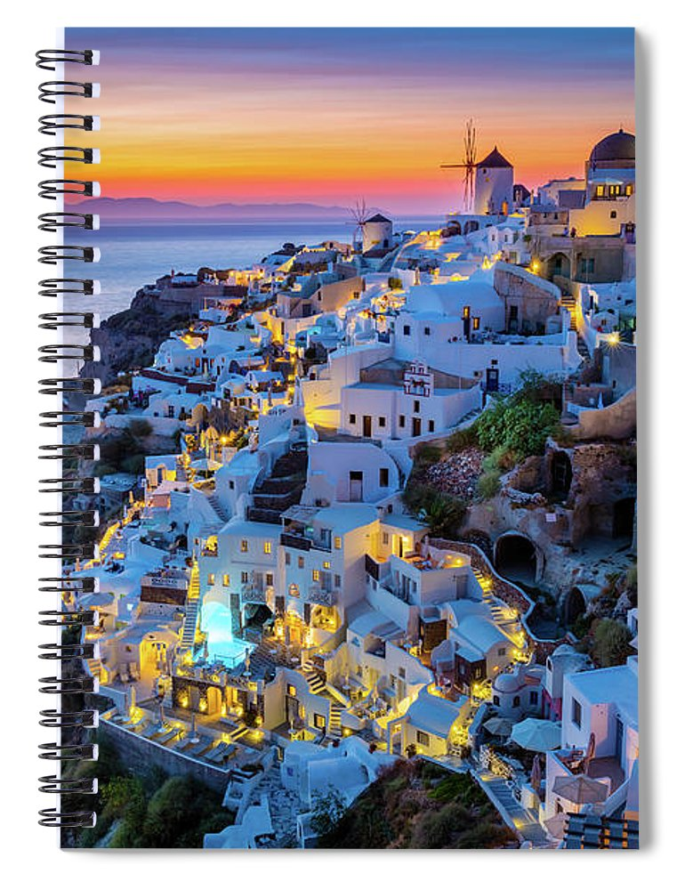 Aegean Sea Spiral Notebook featuring the photograph Santorini Sunset by Inge Johnsson
