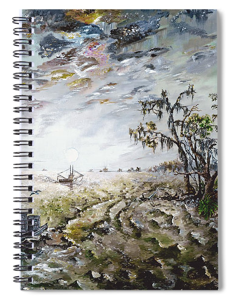 Lighthouse Spiral Notebook featuring the painting Sapelo Island by Richard Barham