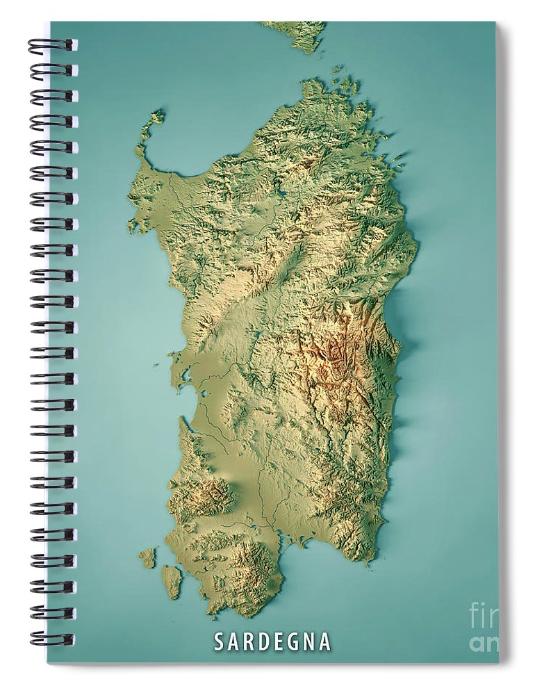 Topographic Map Italy.Sardinia Island Italy 3d Render Topographic Map Spiral Notebook For