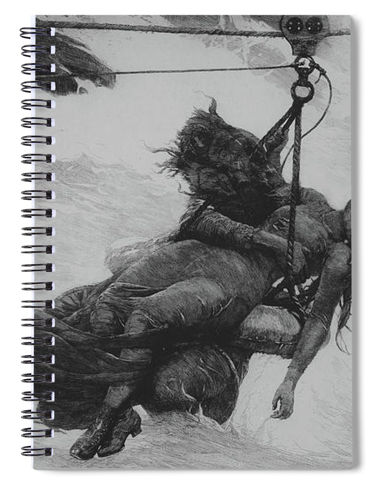 Saved Spiral Notebook featuring the drawing Saved, 1889 by Winslow Homer