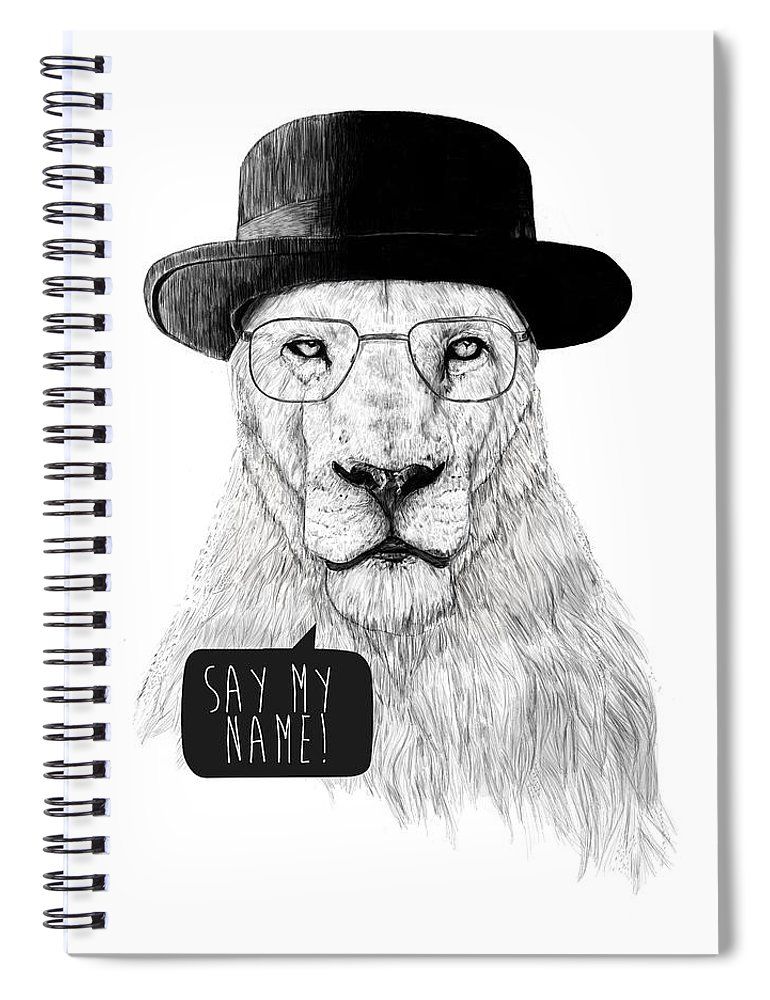 Lion Spiral Notebook featuring the mixed media Say my name by Balazs Solti