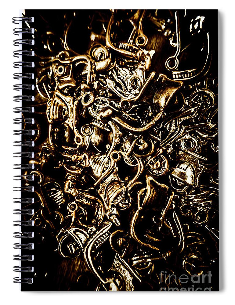 Abstract Spiral Notebook featuring the photograph Scooters And Bike Parts by Jorgo Photography - Wall Art Gallery