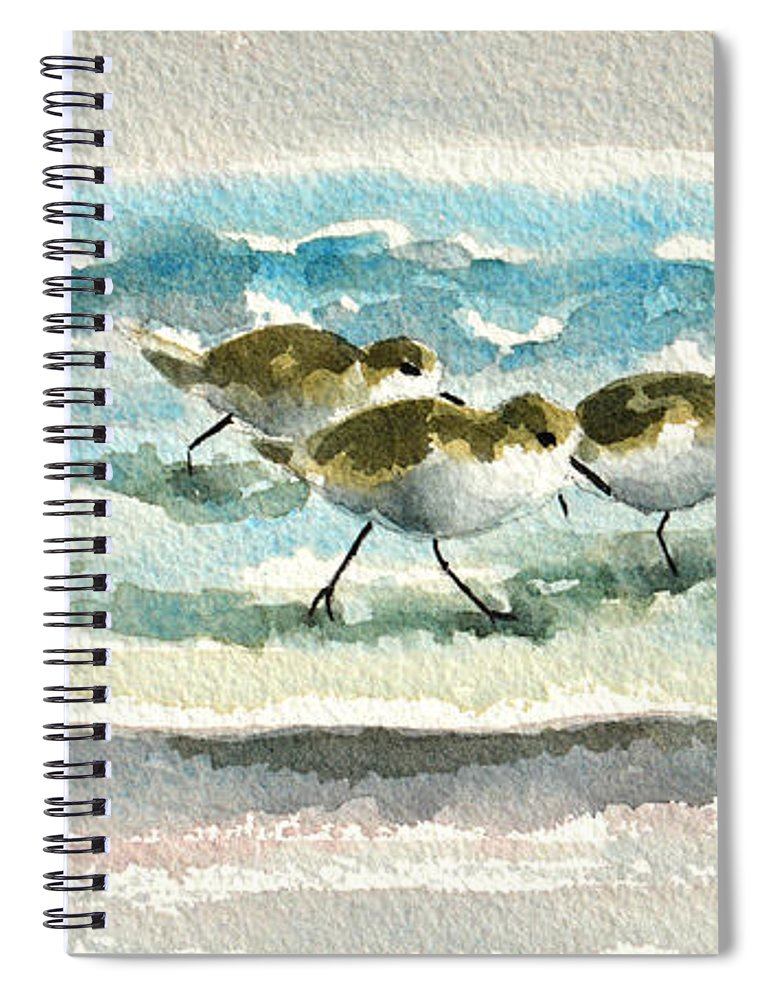 Sandpipers Spiral Notebook featuring the painting Scurrying Along The Shoreline 2 1-6-16 by Julianne Felton
