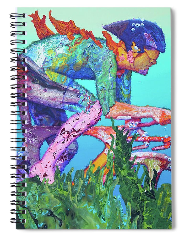 Underwater Spiral Notebook featuring the painting Sea Cycler by Marguerite Chadwick-Juner