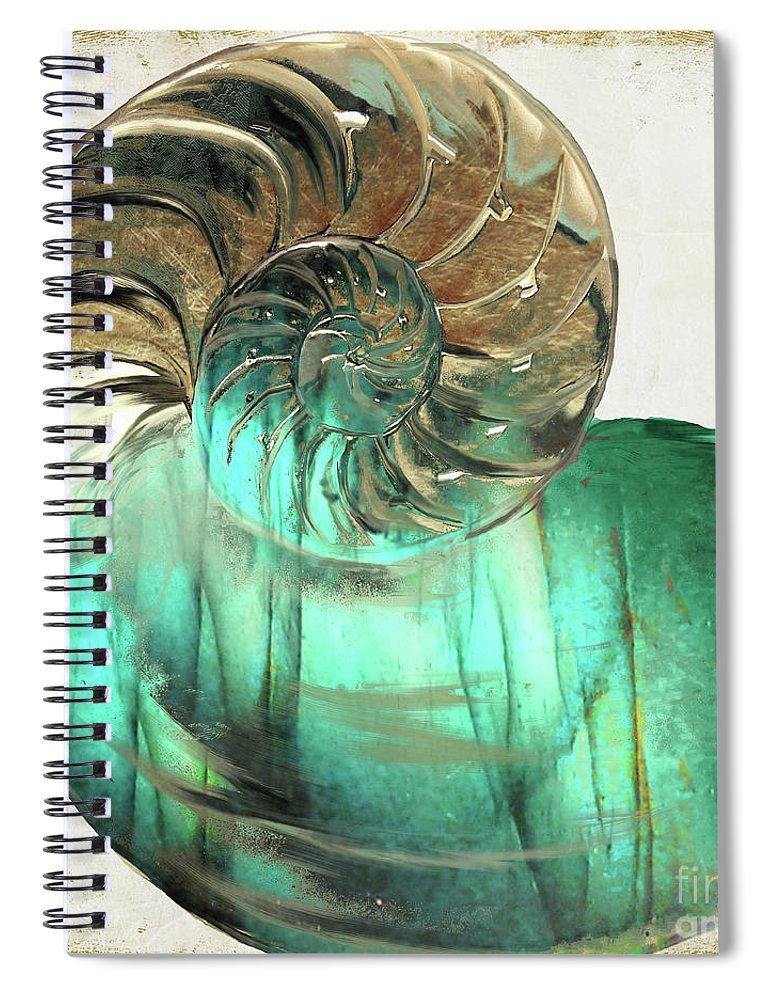 Shell Spiral Notebook featuring the painting Sea Gem by Mindy Sommers