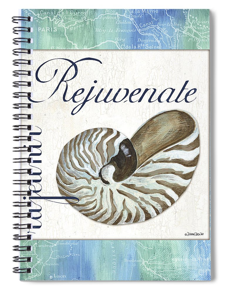 Shell Spiral Notebook featuring the painting Sea Glass 1 by Debbie DeWitt