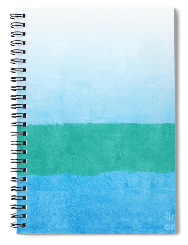 Abstract Spiral Notebook featuring the mixed media Sea of Blues by Linda Woods