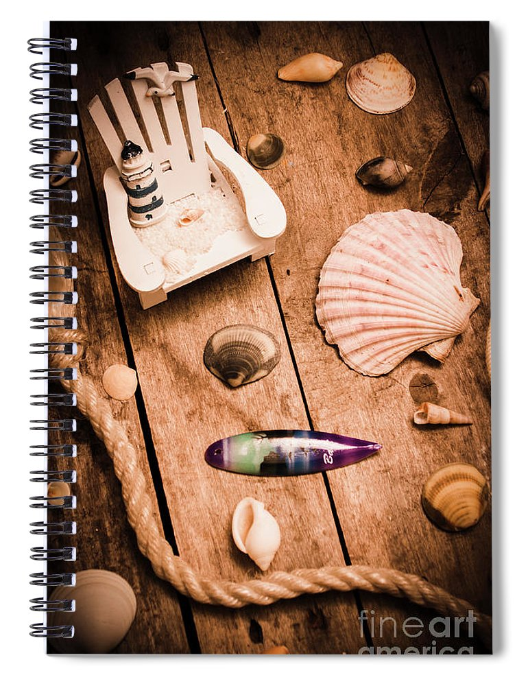 Shell Spiral Notebook featuring the photograph Sea Shell Decking by Jorgo Photography - Wall Art Gallery