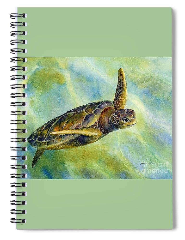 Underwater Spiral Notebook featuring the painting Sea Turtle 2 by Hailey E Herrera