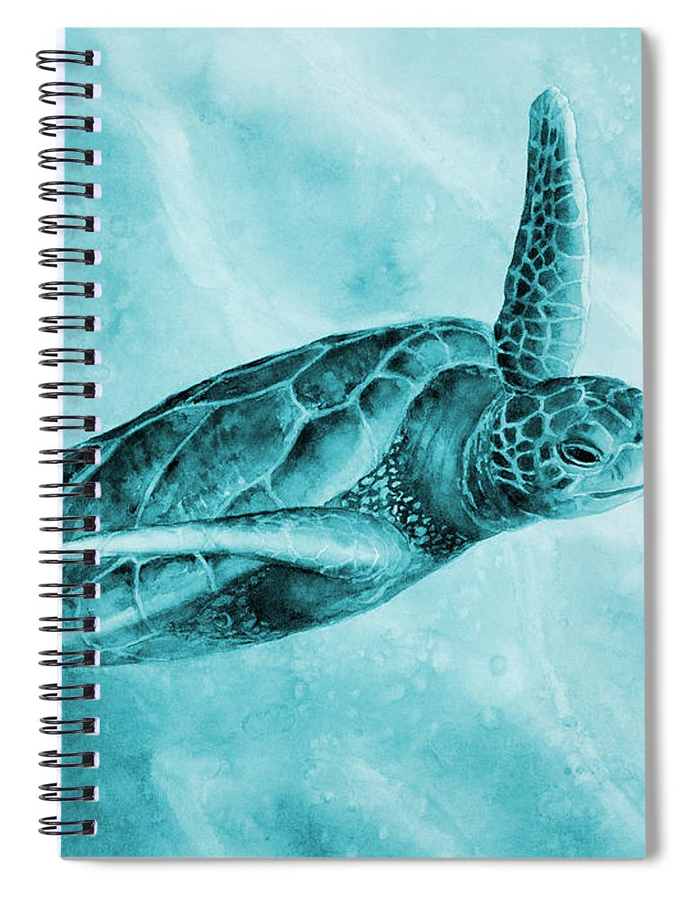 Mono Spiral Notebook featuring the painting Sea Turtle 2 in Blue by Hailey E Herrera