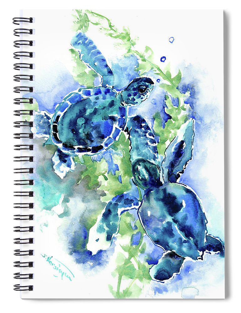Turquoise Design Spiral Notebook featuring the painting Sea Turtle, Underwater Scene, Blue Turquoise Illustration Beach Bath by Suren Nersisyan