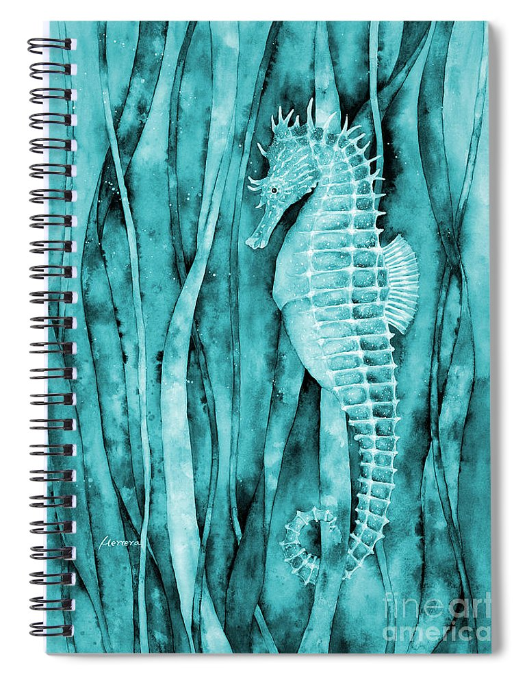Seahorse Spiral Notebook featuring the painting Seahorse On Blue by Hailey E Herrera
