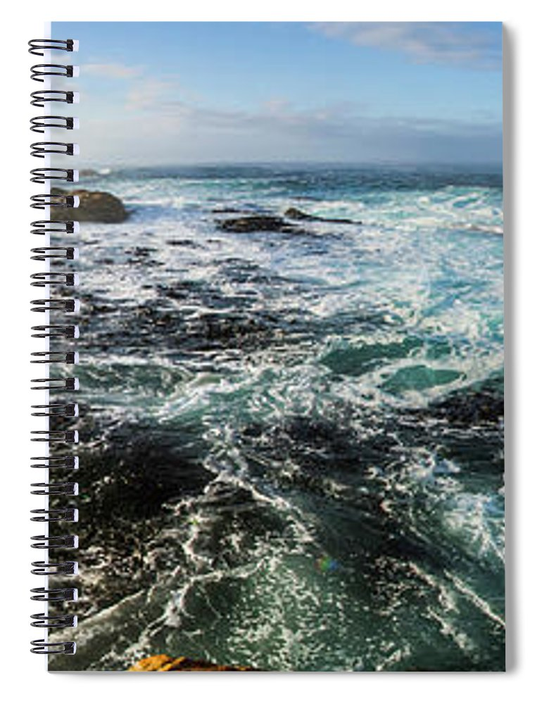 Panorama Spiral Notebook featuring the photograph Seas Of The Wild West Coast Of Tasmania by Jorgo Photography - Wall Art Gallery