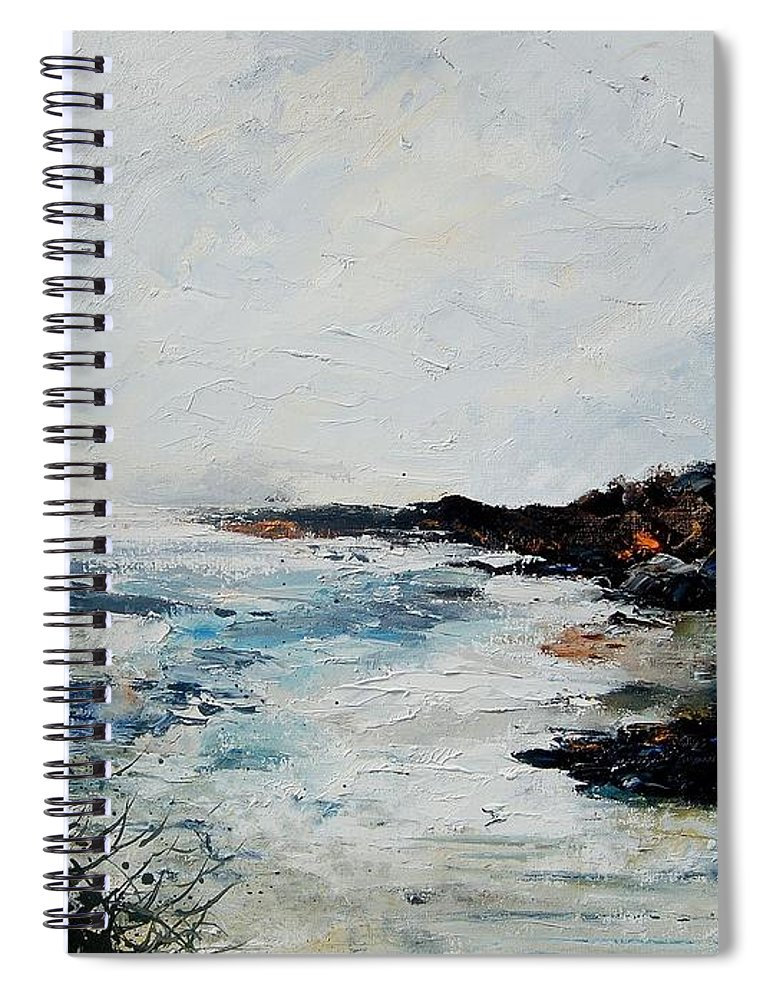 Sea Spiral Notebook featuring the painting Seascape 68 by Pol Ledent