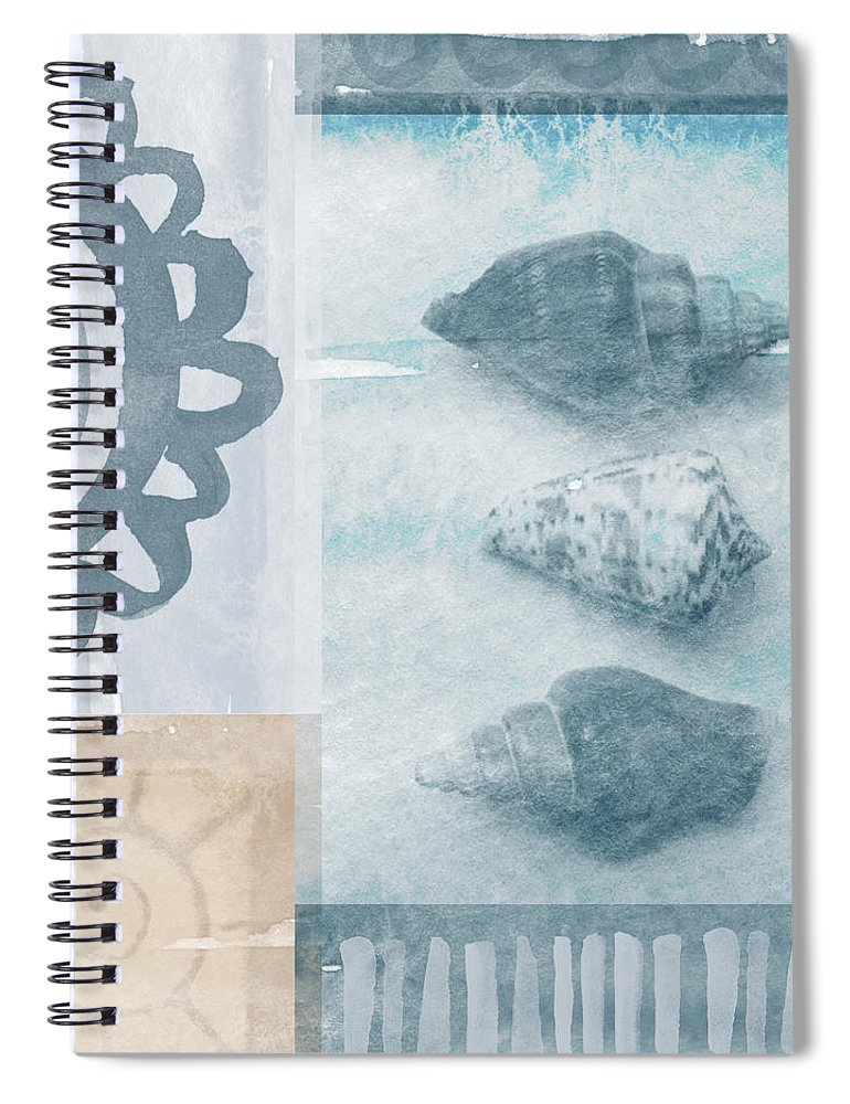 Beach Spiral Notebook featuring the painting Seashells by Linda Woods