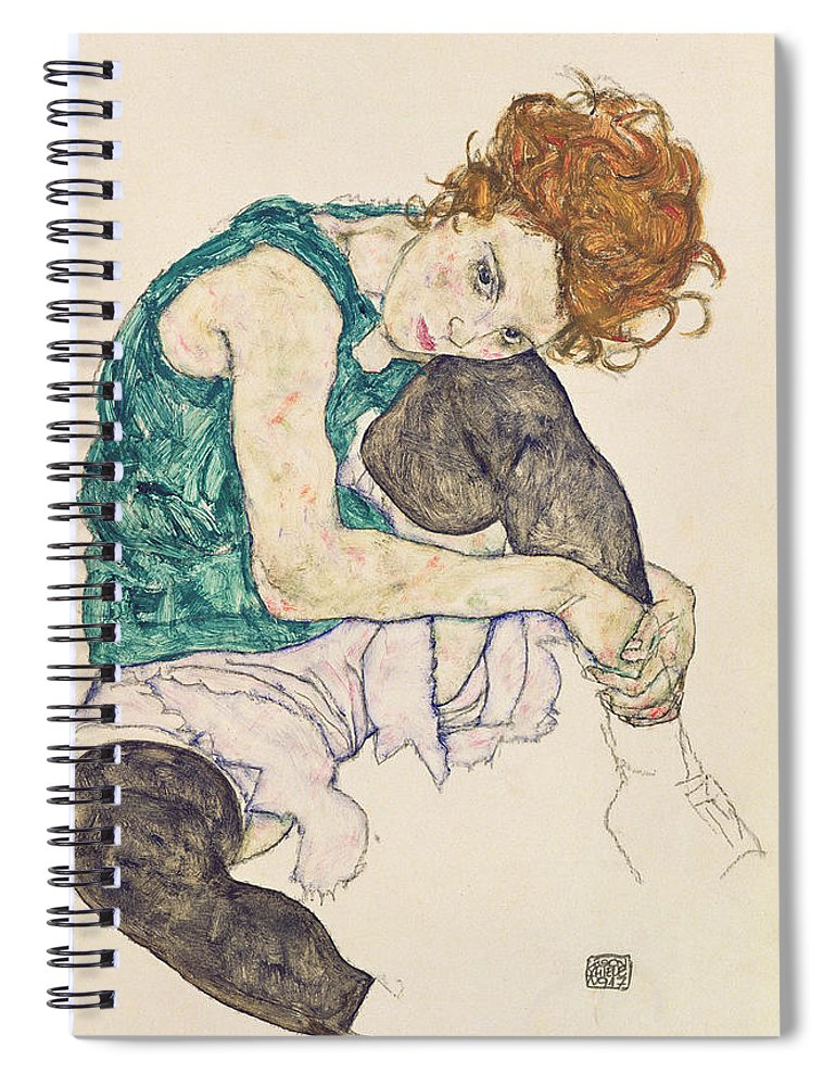 Egon Schiele Spiral Notebook featuring the painting Seated Woman With Bent Knee by Egon Schiele