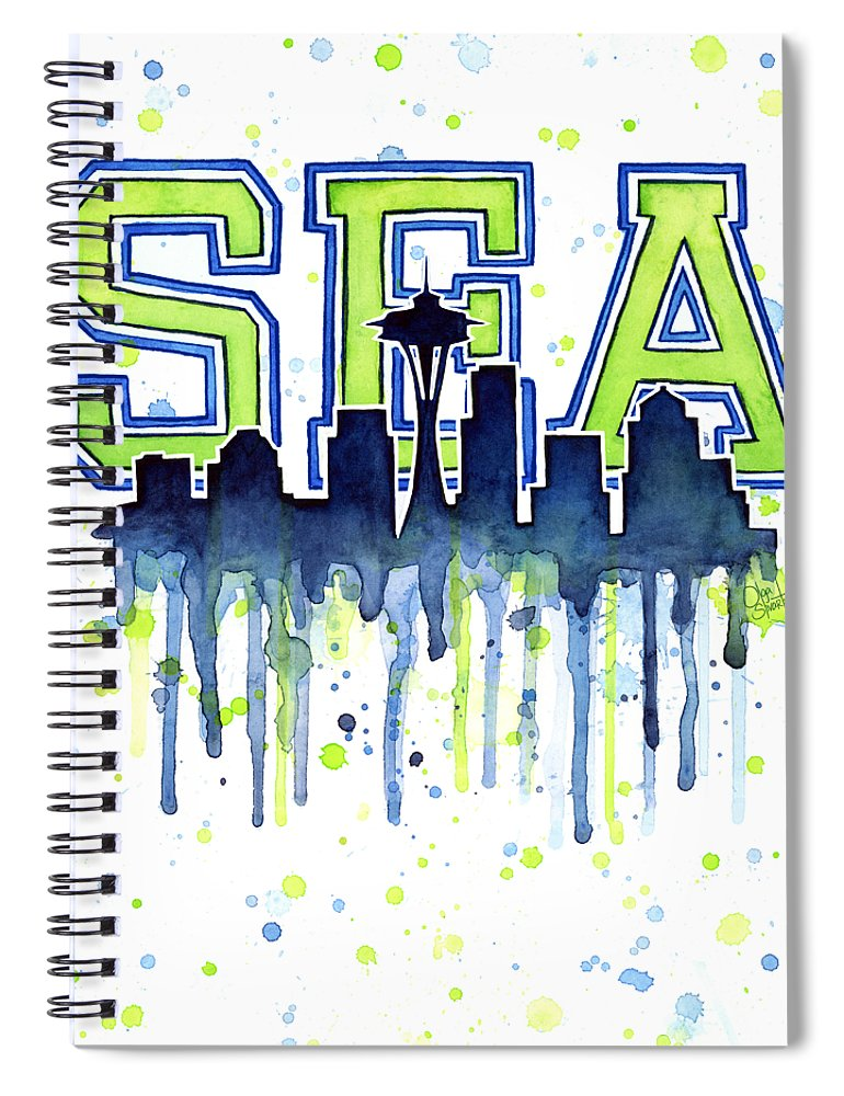 Watercolor Spiral Notebook featuring the painting Seattle Watercolor 12th Man Art Painting Space Needle Go Seahawks by Olga Shvartsur